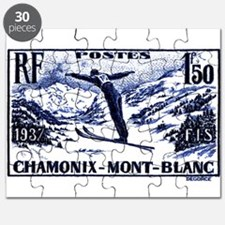 1938 France Skii Competition Postage Stamp Puzzle