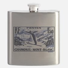 1938 France Skii Competition Postage Stamp Flask