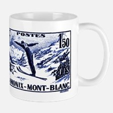 1938 France Skii Competition Postage Stamp Mugs