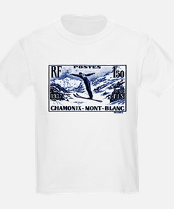 1938 France Skii Competition Postage Stamp T-Shirt