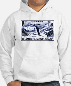 1938 France Skii Competition Postage Stamp Hoodie