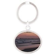 Emerald Isle Sunset Oval Keychain
