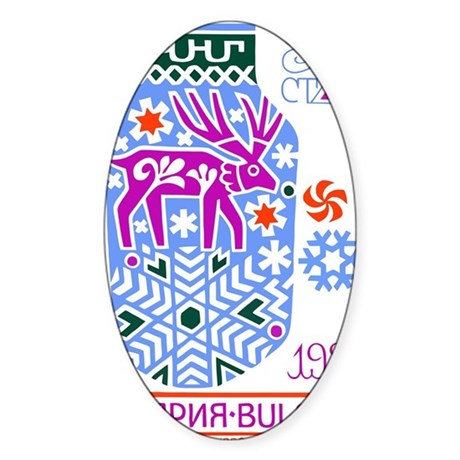 1988 Bulgaria New Year 1989 Holiday Sticker (Oval)