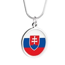 Slovakia Flag Silver Round Necklace