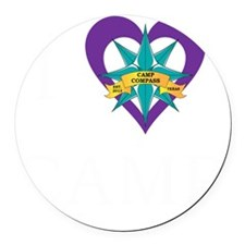 I heart camp - white lettering Round Car Magnet