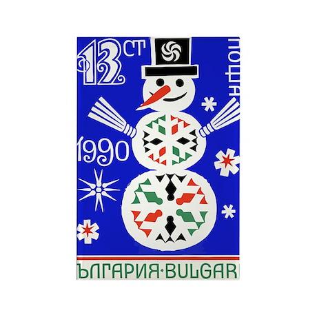 1989 Bulgaria Holiday Snowman Po Rectangle Magnet