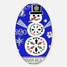 1989 Bulgaria  Holiday Snowman Post Decal