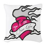 Heart tattoo true love Woven Throw Pillow