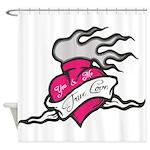 Heart tattoo true love Shower Curtain