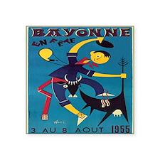 "Vintage French Bayonne Bull Square Sticker 3"" x 3"""