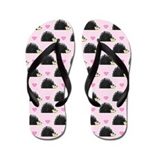 Cute Happy Hedgehog Pattern Pink Flip Flops