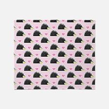 Cute Happy Hedgehog Pattern Pink Throw Blanket