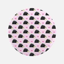 "Cute Happy Hedgehog Pattern Pink 3.5"" Button"