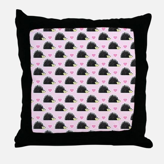 Cute Happy Hedgehog Pattern Pink Throw Pillow