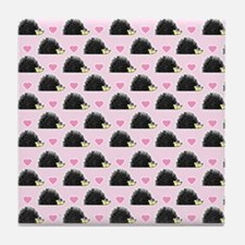 Cute Happy Hedgehog Pattern Pink Tile Coaster