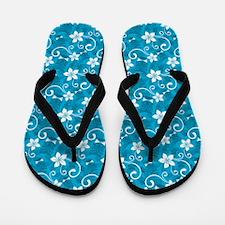 Tropical Floral Tiki Turquoise Flip Flops