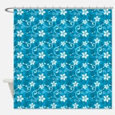 Tropical Floral Tiki Turquoise Shower Curtain
