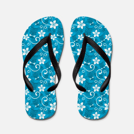Tropical Floral Tiki Turquoise Flip Flops