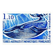 1977 French Southern Lands Blue Whale Stamp Postca