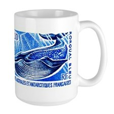 1977 French Southern Lands Blue Whale Stamp Mugs