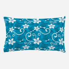 Tropical Floral Tiki Turquoise Pillow Case