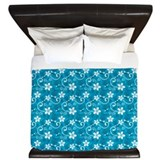Turquoise hawaiian tiki King Duvet Covers