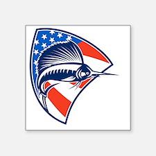 "Sailfish Fish Jumping Ameri Square Sticker 3"" x 3"""