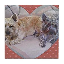 Cairn Terriers Inside Heart Tile Coaster