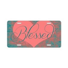 blessed heart dark pink Aluminum License Plate