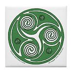 Green Celtic Spiral Tile Coaster