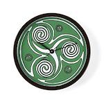 Green Celtic Spiral Wall Clock