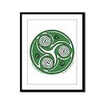 Green Celtic Spiral Framed Panel Print
