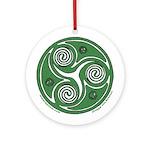 Green Celtic Spiral Ornament (Round)