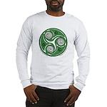 Green Celtic Spiral Long Sleeve T-Shirt - Wht/Gr