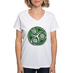Green Celtic Spiral Women's V-Neck T-Shirt