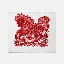 horseA82dark Throw Blanket