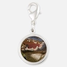 alligator with teeth showing Silver Round Charm