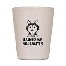 Raised by Malamutes Shot Glass