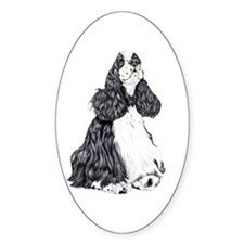Cocker Spaniel BW Parti Oval Decal
