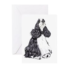 Cocker Spaniel BW Parti Greeting Cards (Package of