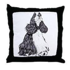 Cocker Spaniel BW Parti Throw Pillow