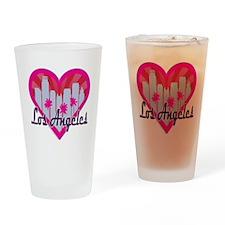 LA Skyline Sunburst Heart Drinking Glass