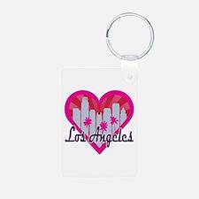 LA Skyline Sunburst Heart Keychains