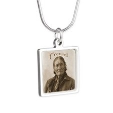Geronimo, Proud American Silver Square Necklace