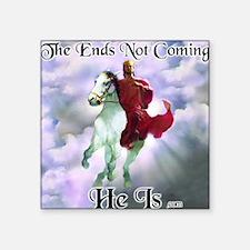 "Jesus on Horseback Descendi Square Sticker 3"" x 3"""