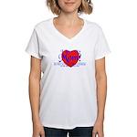 I Love Mom! Women's V-Neck T-Shirt