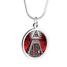 illuminati new world order 9 Silver Round Necklace