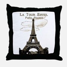 Eiffel Tower-Paris-France-1-Sepia Throw Pillow