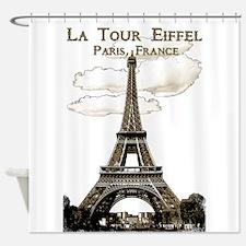 Eiffel Tower-Paris-France-1-Sepia Shower Curtain