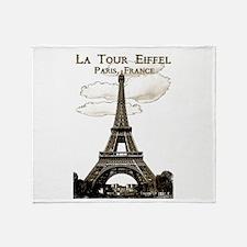 Eiffel Tower-Paris-France-1-Sepia Throw Blanket